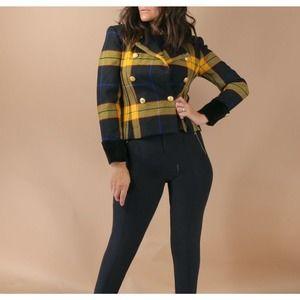 Vintage Jones New York Petite Plaid Multicolor Wool Double Breasted Blazer 2P